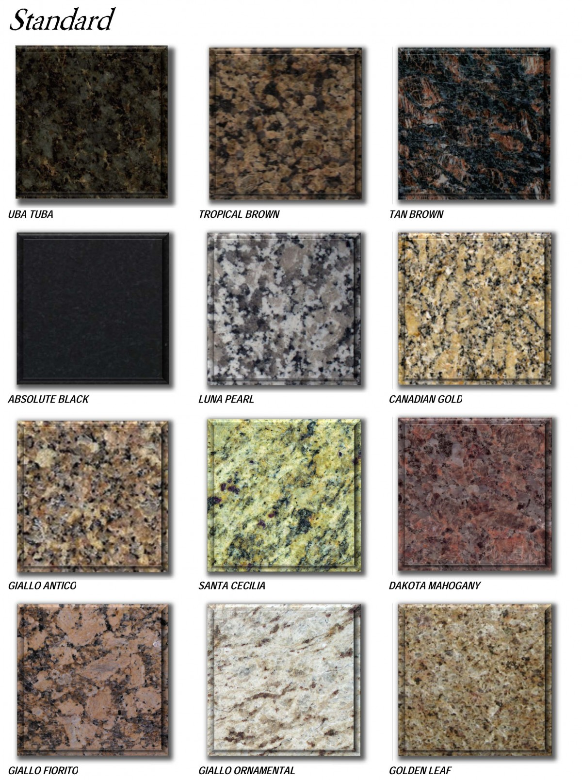 Granite Types : granite prices brochure - standard colors-2