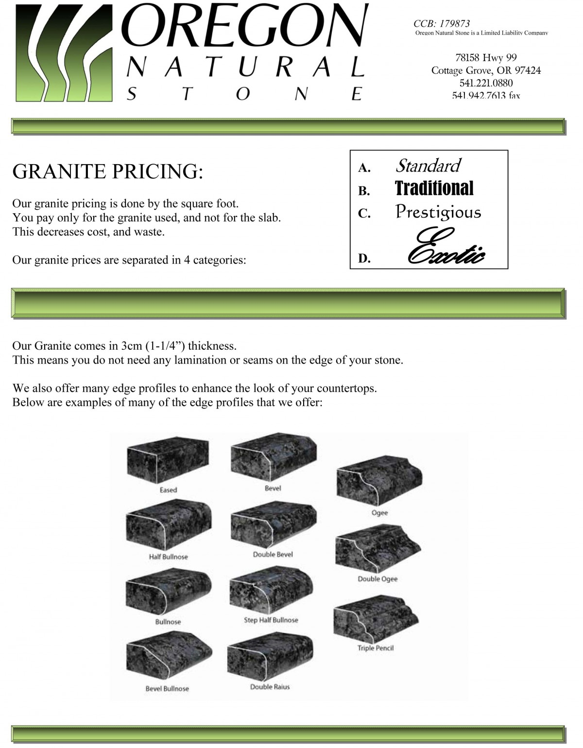 granite prices brochure - traditional colors reduced -1